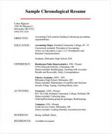 resume experience chronological order or relevance chronological resume 9 sles exles format