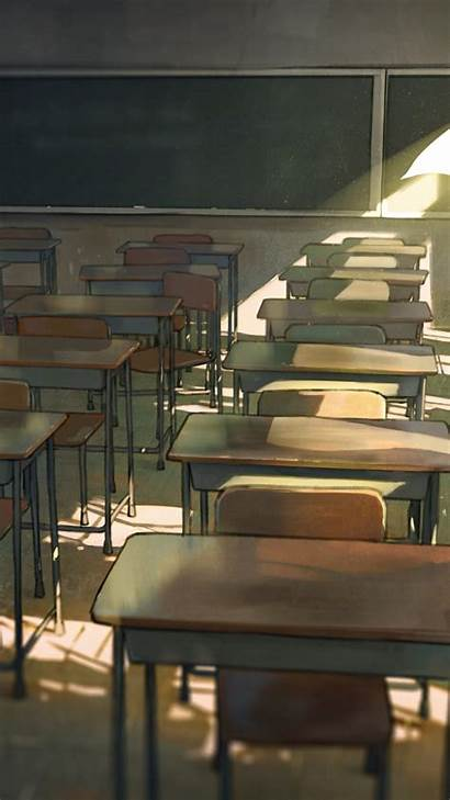 Classroom Anime Boy Lonely Desks Wallpapers Background