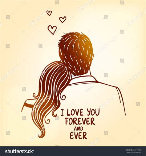 illustration doodle silhouette loving couple stock vector