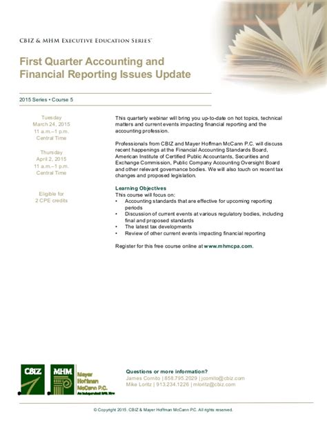 Webinar First Quarter Accounting And Financial Reporting Issues Upda…
