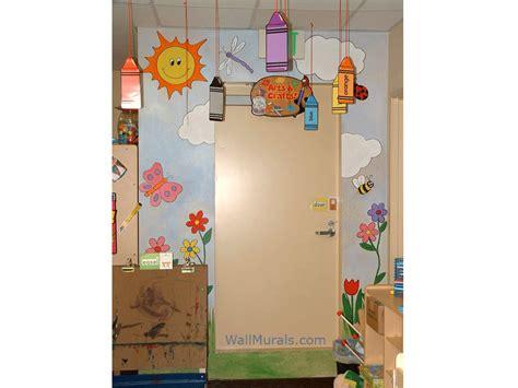 preschool wall murals daycare murals playroom mural 872 | 2 preschool flower sun clouds mural