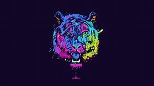Tiger tiger predator carnivore cat artwork psychedelic c ...