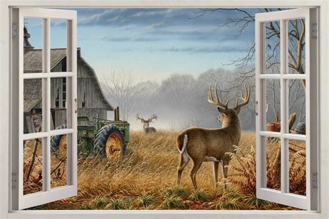 autumn white tail deer window view decal wall sticker home