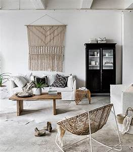 idees de decoration de salon boheme chic chez vous With beautiful mur couleur lin et gris 17 deco style maison de campagne nature scandinave et