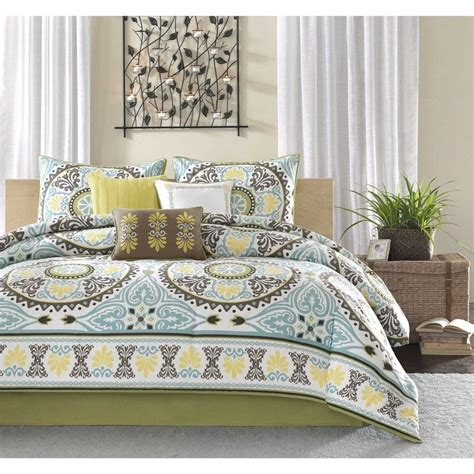 king 7pc bedding set cotton poly comforter blue yellow