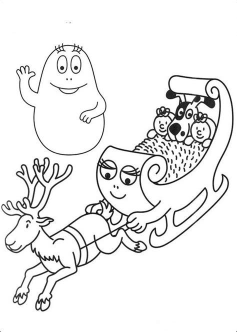 coloriage de les barbapapa dessin dans le traineau du