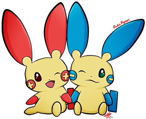 #311 Plusle And #312 Minun By Purupyonn On Deviantart