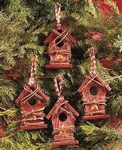Set of 4 Country Wood Birdhouses Christmas Tree Ornaments