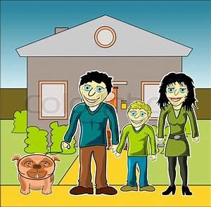Bilder Hausbau Comic : gl ckliche familie mit haus cartoon comic vektorgrafik colourbox ~ Markanthonyermac.com Haus und Dekorationen