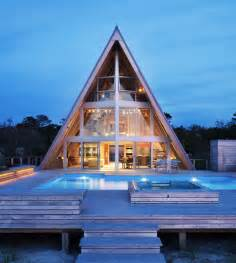 Beautiful Modified A Frame House by Beachfront A Frame House With Wide Open Interior Modern