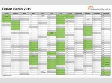 Ferien Berlin 2019 Ferienkalender zum Ausdrucken