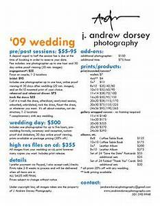 photography package pricing list template wedding With wedding photography pricing pdf