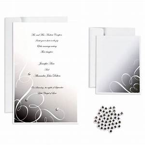 black rhinestone swirl printable wedding invitations kit With black and white bling wedding invitations