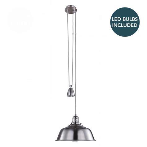 rise and fall pendant light with led bulbs satin chrome