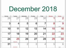 December 2018 Holiday Calendar Free Calendar Printable