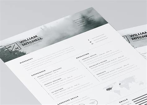 free minimalistic resume template for photoshop and