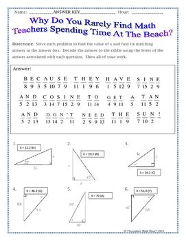 Right Triangles  Sin Cos Tan (soh Cah Toa) Trig Riddle Practice Worksheet