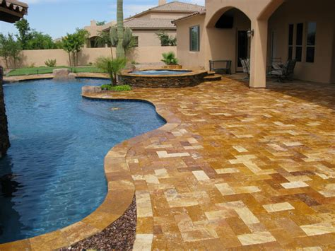 travertine pavers mediterranean patio houston by