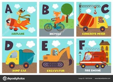 Alphabet Card Transport Animals Vector Illustration Eps Business Card Ideas Automotive Designs With 2 Addresses Images Creative Commons Cards For Photographers Grey Desk Rv Johannesburg