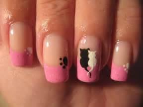 Nail art cute cats love