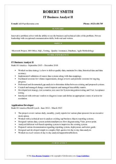 Agile Methodology Business Analyst Resume by It Business Analyst Resume Sles Qwikresume