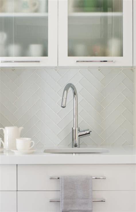 butlers pantry  herringbone backsplash  gray glass front shaker cabinets contemporary
