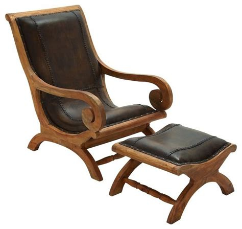 Wood And Leather Chair With Ottoman timeless wood leather chair ottoman set of 2