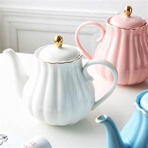 Muzity, Ceramic, Teapot, Pumpkin, Shape, Hand, Painted, Gold, Bone, China, Teapot, With, Tea, Strainer