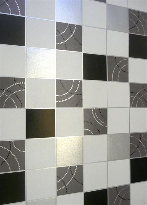 kitchen tile wallpaper dotty wallpaper kitchen bathroom black silver tile effect 3300