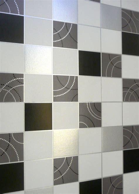 kitchen tiled wallpaper dotty wallpaper kitchen bathroom black silver tile effect 3306