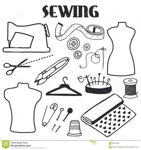 sewing set hand drawn cartoon tools doodle drawing