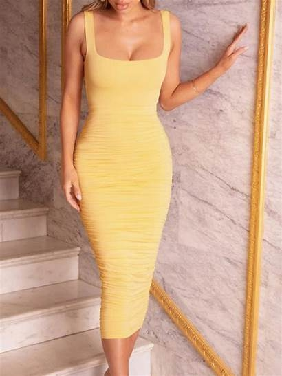 Bodycon Tight Dresses Yellow Charm Unexpected Charming
