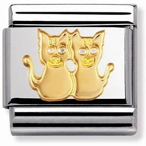 Nomination CLASSIC Gold Animals of Earth Two Cats Charm ...