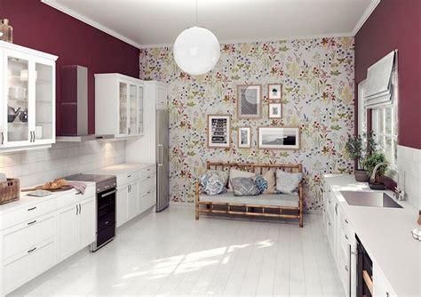 Wandfarbe Weiße Küche by Weisse Kueche Landhausstil Beerenrote Wandfarbe
