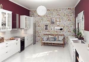 Welche Tapete Für Küche : farbgestaltung f r wei e k che 32 ideen f r wandfarbe ~ Sanjose-hotels-ca.com Haus und Dekorationen