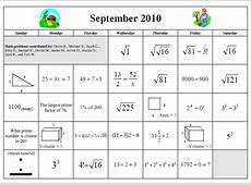 SeptOct 2010 Math Calendars – Denise Gaskins' Let's Play Math