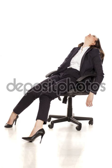 tired businesswoman sleeping office chair white background