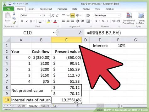 calculate  irr  excel  steps  pictures