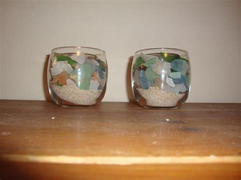 sea glass candle holders     votive candle
