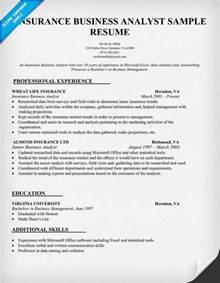 resume for insurance company insurance business analyst resume sle resume sles across all