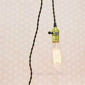 Pendant lighting long cord : Single gold socket pendant light lamp cord kit w dimmer