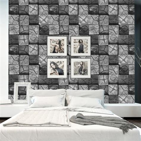 modern contemporary black grey white wood block  effect