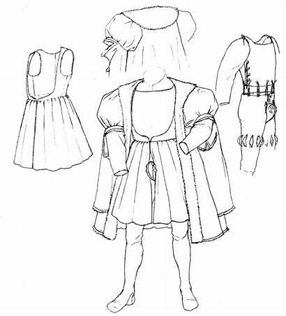 Tudor Renaissance Drawing Tailor Medieval Costume Elizabethan