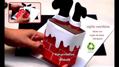 cajita navide 241 a regalo o adorno de navidad hecha con caja de leche o jugo reciclada youtube