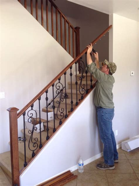 replacing a banister and spindles eli replacing wood stair spindles with wrought iron ones