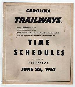 1967 Carolina Trailways Bus Schedule Timetable Time Table