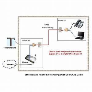 Rj45  Rj11 Splitter Cable Sharing Kit For Ethernet And