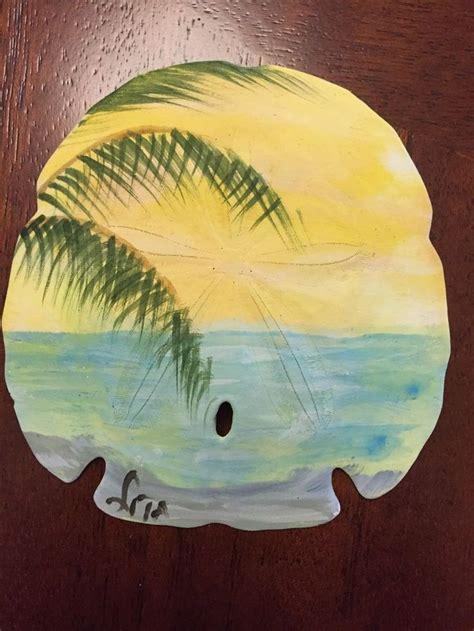 hand painted florida beach scene large sand dollar diy