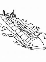Submarine Coloring Pages Printable Template Transportation Submarines Yellow Templates Undersea sketch template