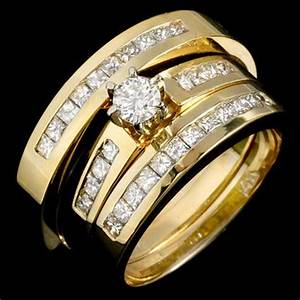 new wedding rings set for him and her 14k yellow gold With gold wedding rings for him and her